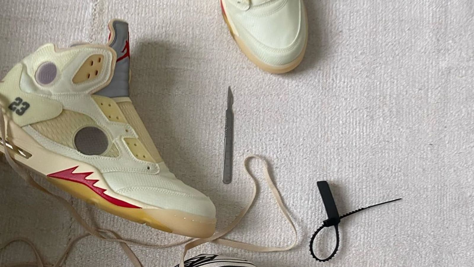An On Foot Look at the Off White™ x Air Jordan 5 | HYPEBAE